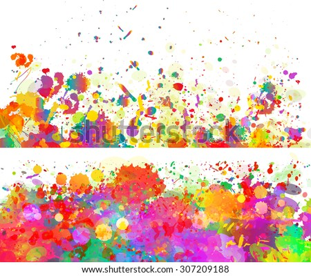 Abstract colorful splash backgrounds, banners set. Watercolor background illustration. - stock photo