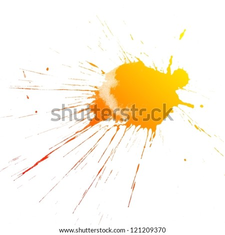 Abstract colorful splash watercolor art hand paint on white background - stock photo