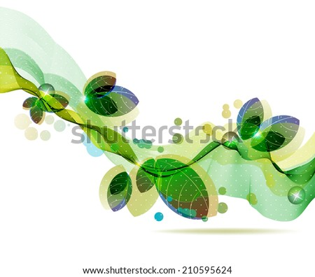 Abstract colorful template background, Brochure design with beautiful wave, natural eco design with leaf - stock photo