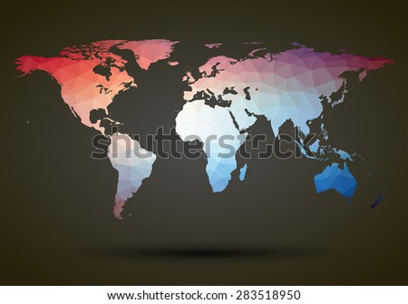 Abstract colorful triangle world map illustration poster - stock photo