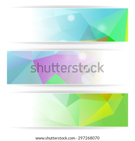 Abstract Colorful Triangular Polygonal header set