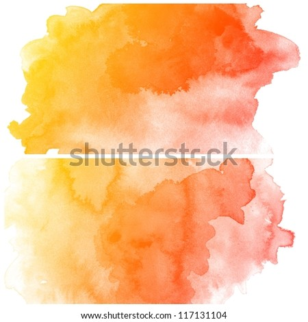 Abstract colorful water color art background hand paint on white background