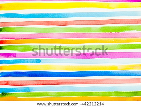 Abstract colorful watercolor art striped texture. Rainbow stripes. Pattern in bright colors - stock photo