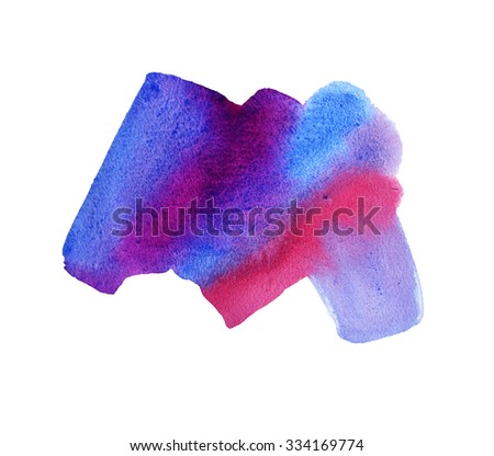 Abstract colorful watercolor background. Ink illustration. Isolated on white background. Hand paint watercolor shape. Element design. Artistic painting.