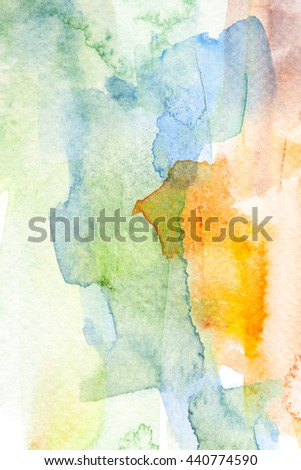 Abstract colorful watercolor brush stroke illustration painting on paper. Artistic background.