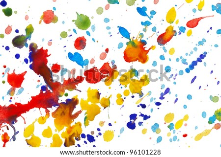 Abstract colorful watercolor splashes isolated on white background - stock photo