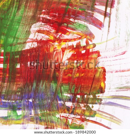 Abstract colorful watercolor strokes on white paper background