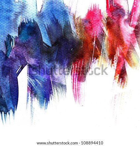 Abstract colorful watercolors ; colors wet on wet paper - stock photo