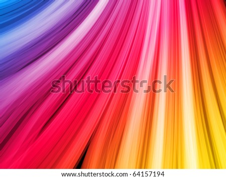 Abstract Colorful Waves on Black Background - stock photo