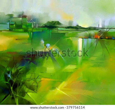 Abstract colorful yellow and green oil painting landscape on canvas. Semi- abstract image of tree, hill and flowers meadow (field) with gray sky. Spring,Summer season nature background - stock photo