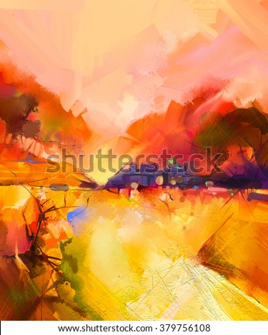 Abstract colorful yellow and red oil painting landscape on canvas. Semi- abstract image of tree, hill and yellow flowers meadow (field) with orange sky. Spring,Summer season nature background - stock photo