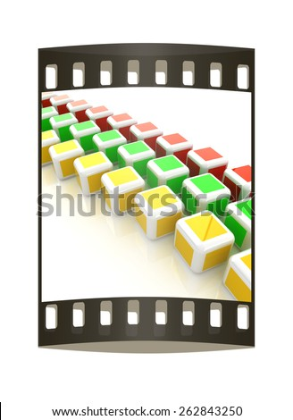 Abstract colorfull blocks 3d. The film strip - stock photo