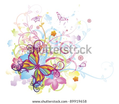 Abstract colourful butterfly background with stylised floral elements, patterns and splashes - stock photo