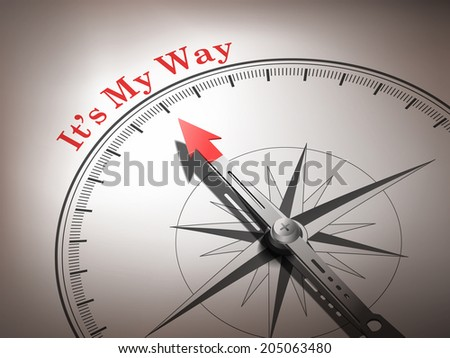 abstract compass needle pointing the word it's my way in red and white tones - stock photo