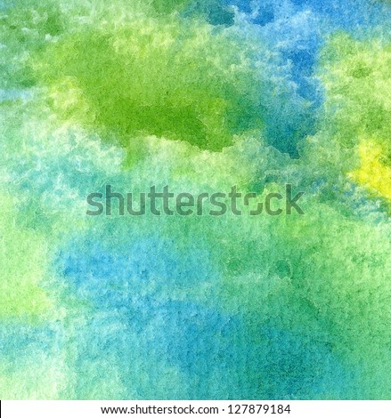 Abstract composition in watercolor. The background, hand painted. - stock photo