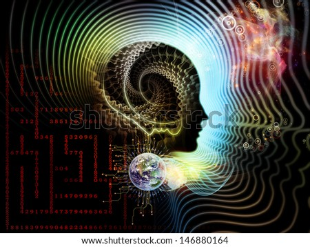 Abstract composition of human feature lines and symbolic elements suitable as element in projects related to human mind, consciousness, imagination, science and creativity - stock photo