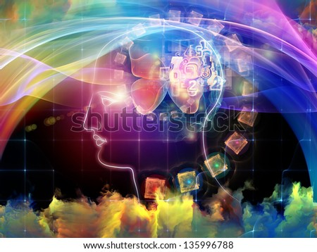Abstract composition of human head, designs and fractal elements on the subject creativity, imagination and knowledge. - stock photo