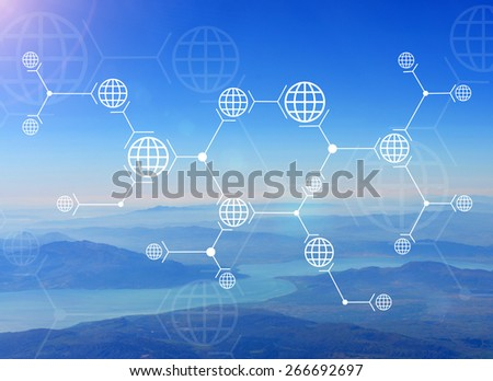 Abstract composition of white lines and globes on nature background of mountain, river and sky