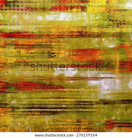 Abstract composition on textured, vintage background with grunge stains. With different color patterns: yellow (beige); brown; green; red (orange) - stock photo