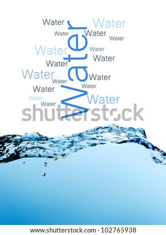 Abstract composition with beautiful blue splashing water on white background - stock photo