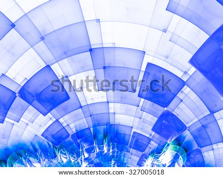 Abstract composition with circular checkered pattern. Colorful decorative texture for use in design projects as background or as distinct design element. Radial movement of colors and shapes. - stock photo