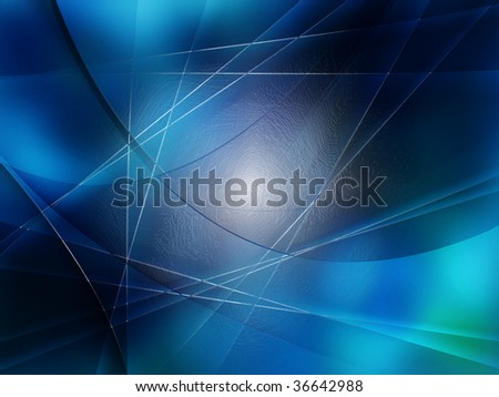 Abstract composition with curves, lines, gradients blue leaf - stock photo