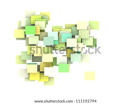 abstract composition with green yellow plane on white - stock photo