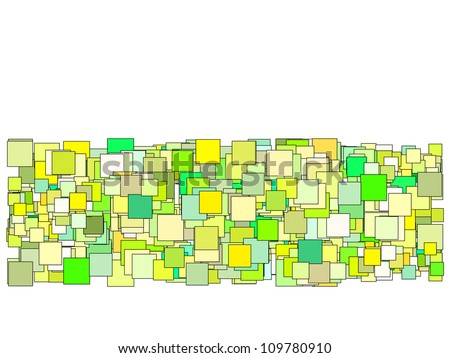 abstract composition with green yellow square plane - stock photo
