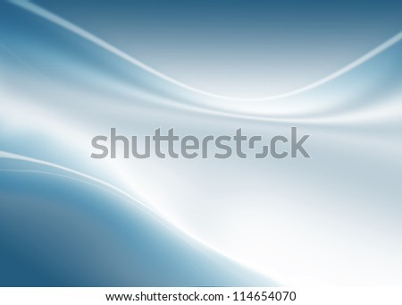 abstract composition with waves of blue-white gradient background
