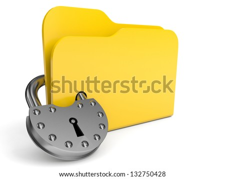 Abstract computer folder with padlock. 3D illustration. - stock photo