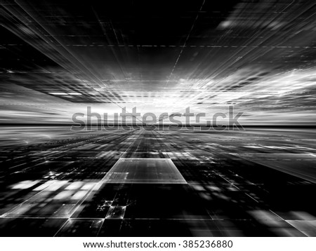 Abstract computer-generated  black and white technology background with the horizon, rectangles and perspective for web-design, covers, posters - stock photo
