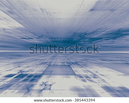 Abstract computer-generated blue and white technology background with the horizon, rectangles and perspective. Trendy fractal artwork for posters, banners and covers. - stock photo