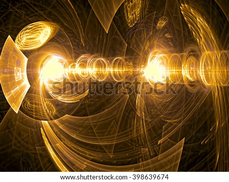 Abstract computer-generated image gold technology background with cylinder, tunnel, perspective and light effects. Fractal artwork for banners, posters, web-design. - stock photo