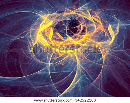 Abstract computer-generated image like clubs of smoke blue, yellow and purple wavy background  - stock photo