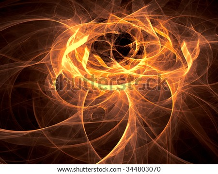 Abstract computer-generated image like clubs of smoke glowing orange wavy background  - stock photo