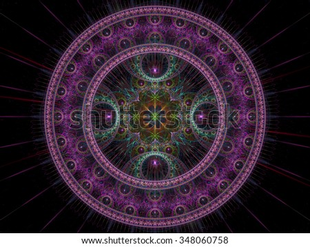 Abstract computer-generated image  purple ornamental disk and flower in the center