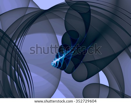 Abstract computer-generated image wavy background with lines, curls, curves