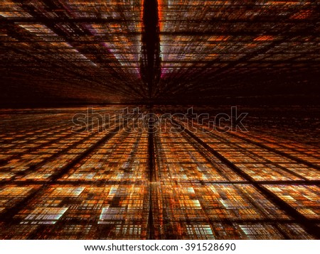 Abstract computer-generated orange technology background with the horizon, grid and perspective. Fractal background for banners, covers, web-design - stock photo