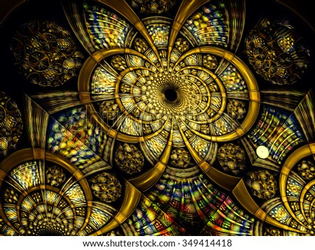 Abstract computer-generated stylized antique stained glass yellow image of a flower or the entrance to the tunnel
