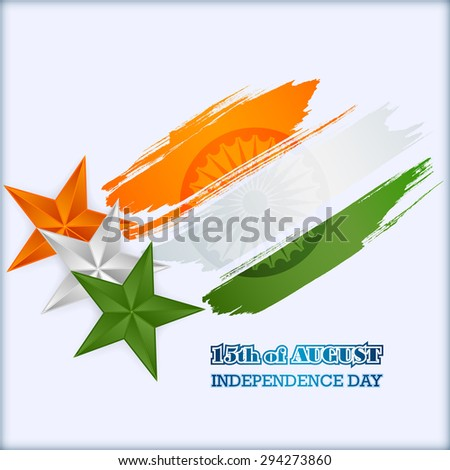 Abstract computer graphic design; Holidays layout template with orange, white and green stars and national flag colors grunge, brush texture for fifteenth of August, Indian Independence Day - stock photo