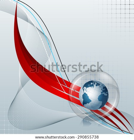 Abstract computer graphic of Earth globe; Design layout template, page cover, magazine, illustration with Earth globe inside glass sphere on linear abstract design and space for text.  - stock photo