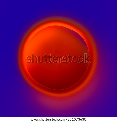 Abstract Concentric Circle Design - Lava Crater - Fiery Red Hole on Blue Background - Artistic Surreal Micro Organism - Rendered Illustration - Expressionism Style - Weird Acne Pimple - Gunshot Hole - - stock photo