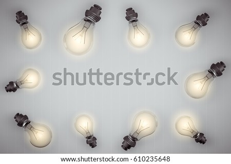 Abstract Concept about the Light bulbs electrical power of the world with white background 3D rendering