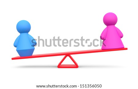Abstract concept of gender equality on white background. - stock photo