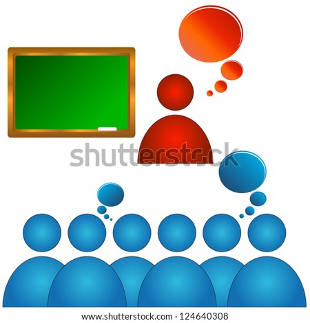 Abstract concept of training of audience with various elements - stock photo
