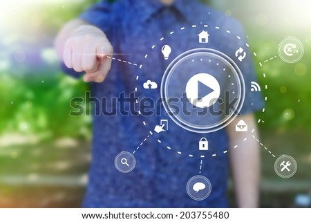 Abstract  concept photo of man touching future technology social network button. Digital touch screen of icon for web, mobile application, iIllustration template, business infographic - stock photo