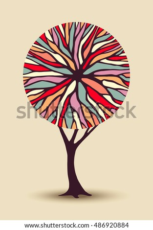 Abstract concept tree illustration with colorful geometric shape branches ideal for creative environment awareness project or diversity design.