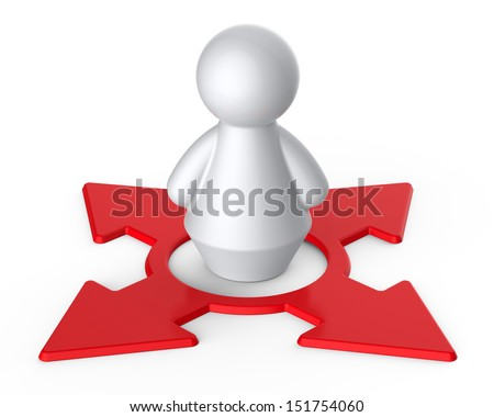 Abstract concept with human figure on directional sign. - stock photo