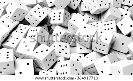 Abstract conceptual background with pile of random white dices, top view.