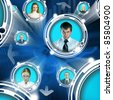 Abstract conceptual illustration of business people in cyberspace - stock photo